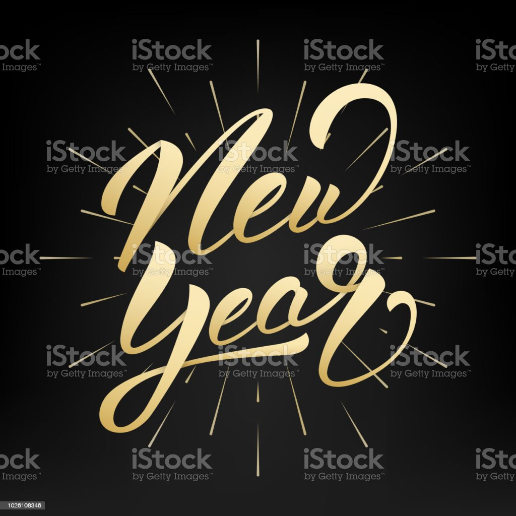 new year happy new year 2019 gold hand lettering label hand drawn logo for
