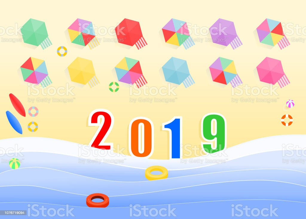New year holiday on the beach. vector art illustration