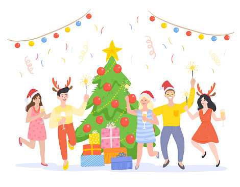 New Year Holidays and Christmas Party Flat Illustration