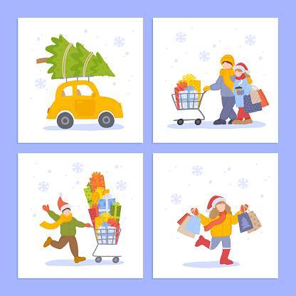 New Year Holidays and Christmas Shopping Flat Illustration Set