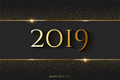 2019 New Year horizontal template. Vector golden 2019 New Year luxury design concept with golden glitter and frame.