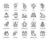 New Year Icon Set - Thin Line Series