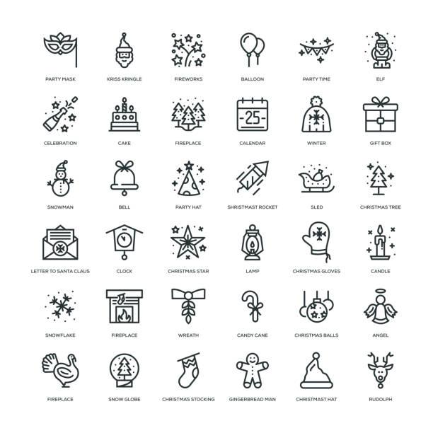 ilustrações de stock, clip art, desenhos animados e ícones de new year icon set - balão enfeite