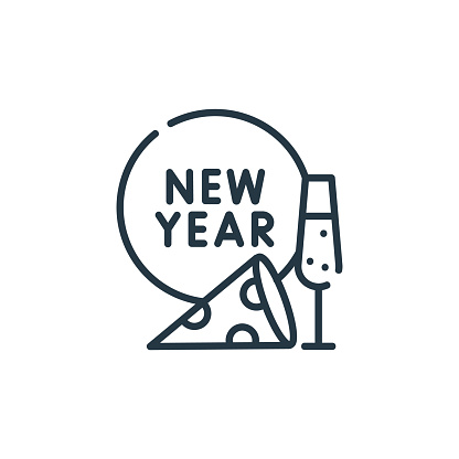 new year icon vector from party and celebration concept. Thin line illustration of new year editable stroke. new year linear sign for use on web and mobile apps, logo, print media..
