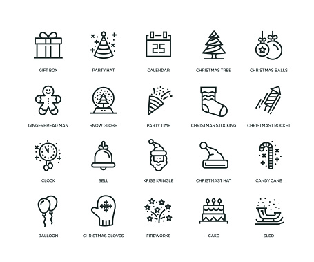 New Year Icons - Line Series