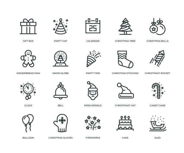 ilustrações de stock, clip art, desenhos animados e ícones de new year icons - line series - balão enfeite