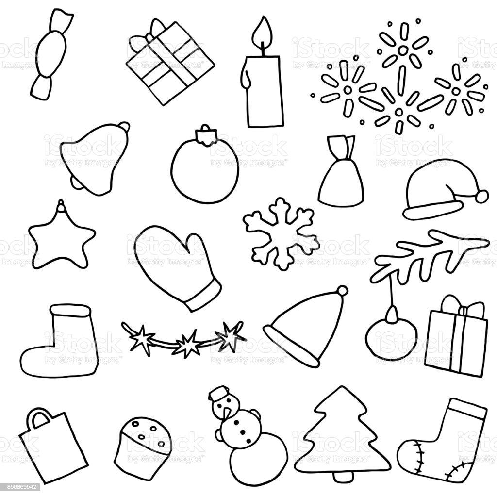 Ilustración De Conjunto De Iconos De Año Nuevo Pegatinas Para