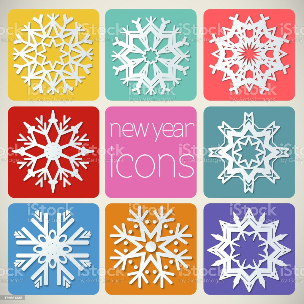 New Year Icons Set with snowflakes. royalty-free new year icons set with snowflakes stock vector art & more images of abstract