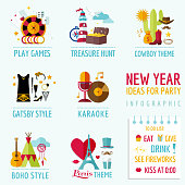New Year Infographic - Party Ideas and Themes - in vector