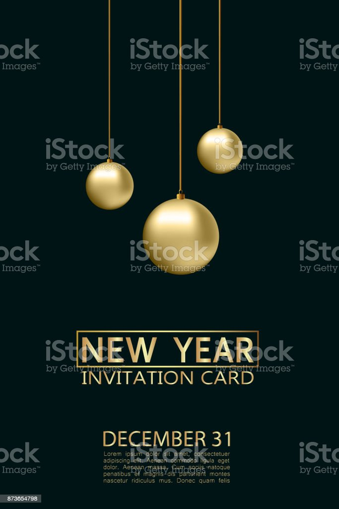 new year invitation card with gold christmas balls and lettering december 31 vector illustration