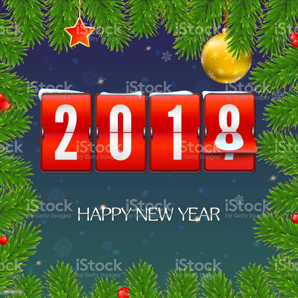 New Year Is Coming 2018 Frame From Fir Branches With Mechanical