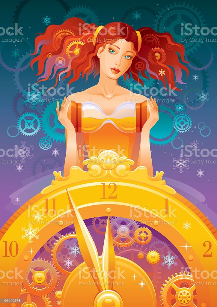 New year lady vector art illustration