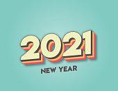 istock 2021 New Year lettering. Retro lettering. Seasonal greeting card template. stock illustration 1284204074