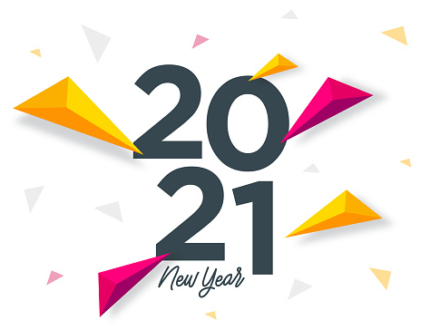 2021 New Year lettering. Triangle shapes. Seasonal greeting card template. stock illustration