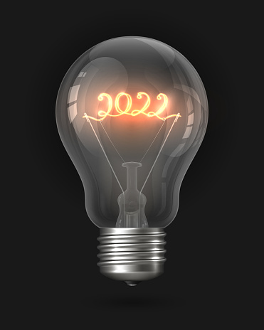 2022 New Year light bulb. Realistic light bulb with a filament in the form of the number 2022. Incandescent light bulb, glass lamp object. Christmas and New Year decoration