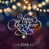 Happy New Year lighting background 2016.