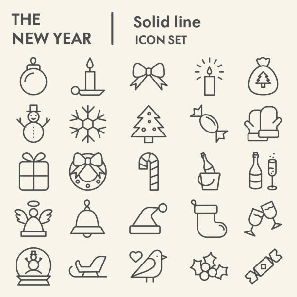 ilustrações de stock, clip art, desenhos animados e ícones de new year line icon set. wnter collection or sketche, symbols. happy new year holiday signs for web, outline style pictogram package isolated on white background. vector graphic. - christmas cake