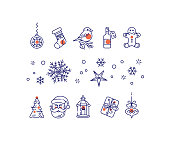 New year line icons set.