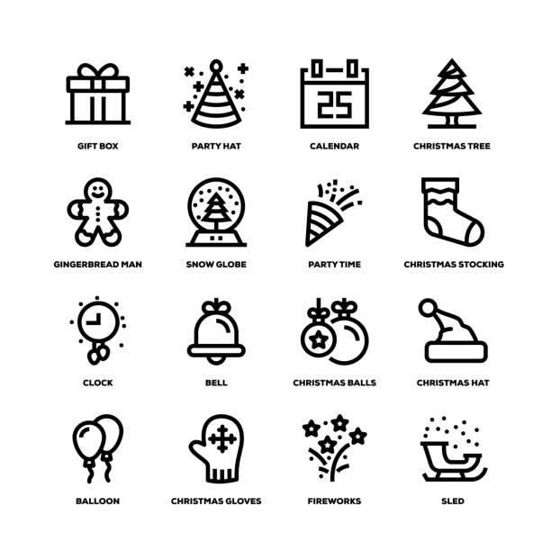 ilustrações de stock, clip art, desenhos animados e ícones de new year line icons - balão enfeite