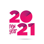 2021 New Year logo. Holiday greeting card. Vector illustration. Holiday design for greeting card, invitation, calendar, etc. stock illustration