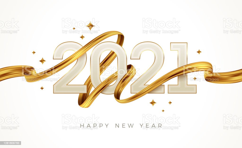 2021 New Year  logo with golden paint brushstroke..   New Year sign with golden ribbon. Vector illustration. - Royalty-free 2021 arte vetorial