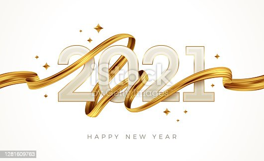 istock 2021 New Year  logo with golden paint brushstroke..   New Year sign with golden ribbon. Vector illustration. 1281609763