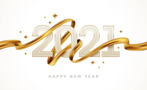 ilustrações de stock, clip art, desenhos animados e ícones de 2021 new year  logo with golden paint brushstroke..   new year sign with golden ribbon. vector illustration. - happy new year