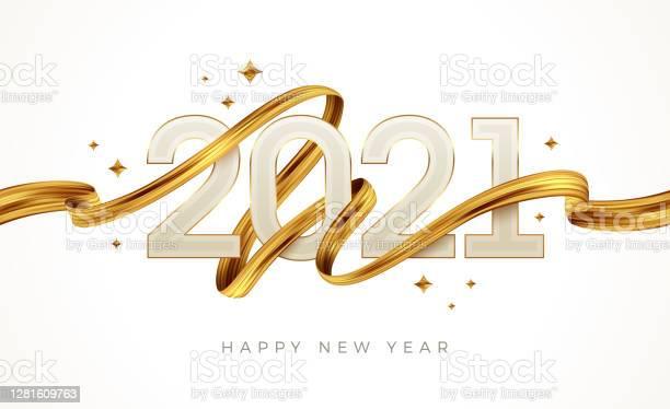2021 New Year Logo With Golden Paint Brushstroke New Year Sign With Golden Ribbon Vector Illustration - Arte vetorial de stock e mais imagens de 2021
