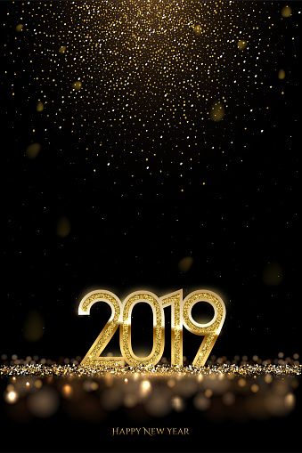 2019 New Year luxury design concept. Vector golden 2019 New Year vertical template with falling golden snow.