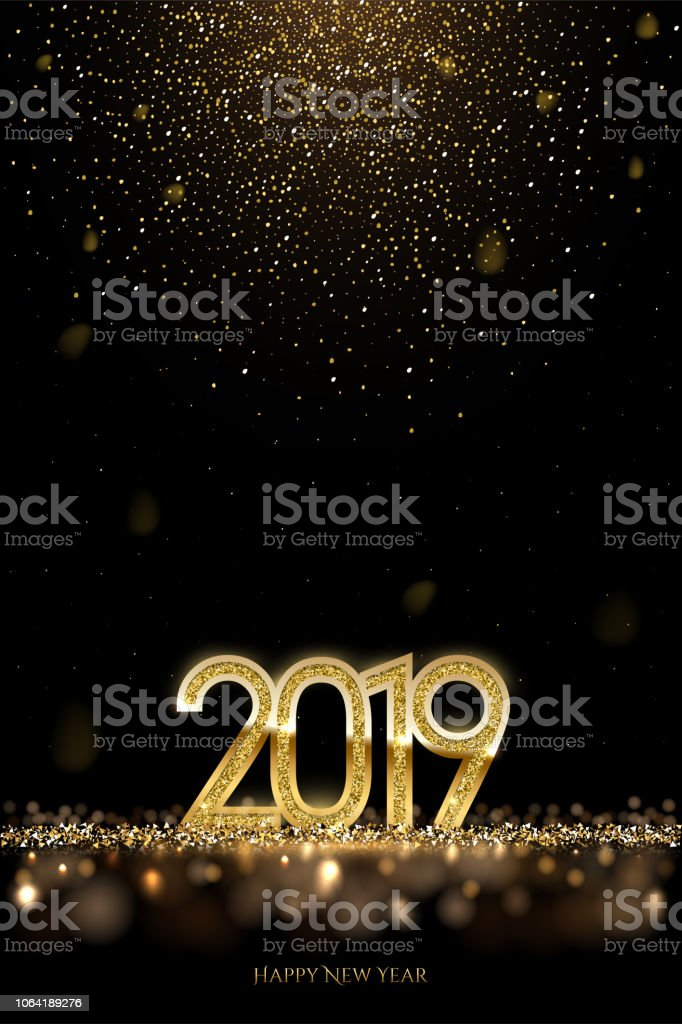 2019 New Year luxury design concept. Vector golden 2019 New Year vertical template with falling golden snow. vector art illustration