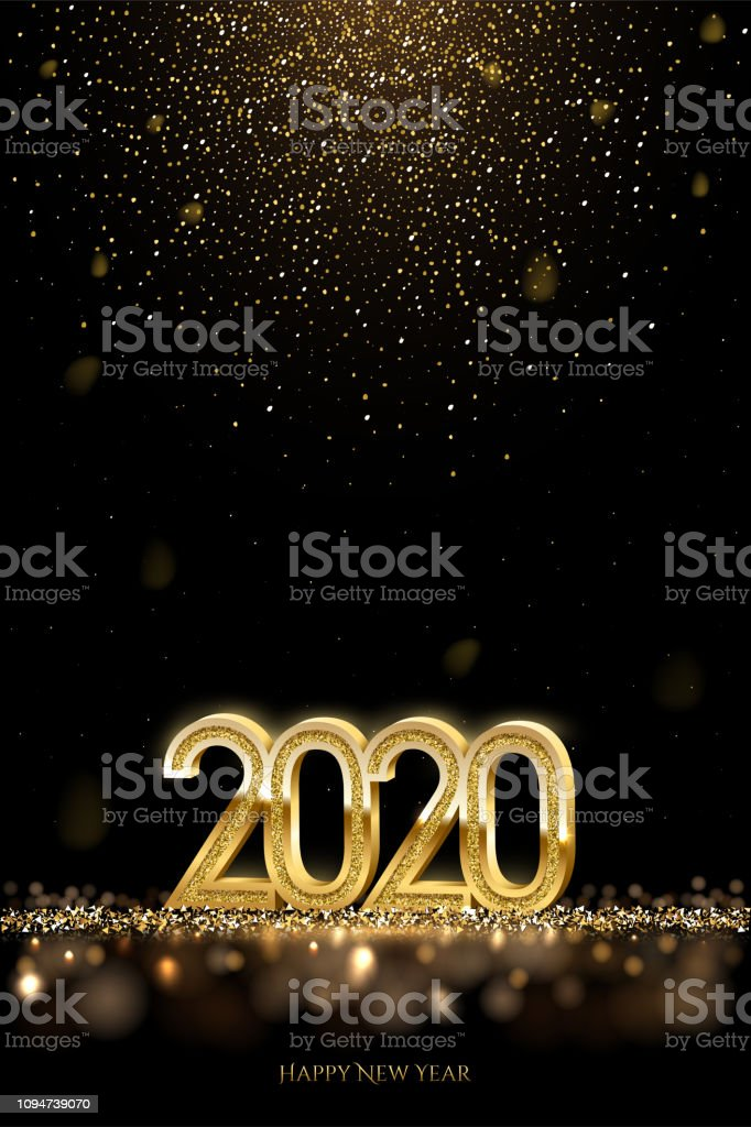 2020 New Year luxury design concept. Vector golden 2020 New Year vertical template with falling golden snow. - Royalty-free 2020 arte vetorial