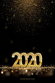 2020 New Year luxury design concept. Vector golden 2020 New Year vertical template with falling golden snow