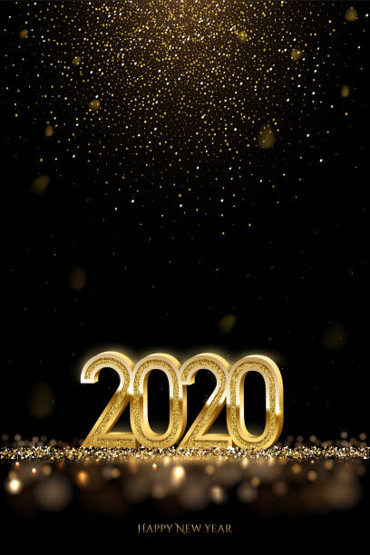 2020 New Year luxury design concept. Vector golden 2020 New Year vertical template with falling golden snow. 2020 New Year luxury design concept. Vector golden 2020 New Year vertical template with falling golden snow 2020 stock illustrations