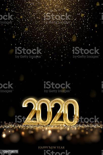 2020 New Year Luxury Design Concept Vector Golden 2020 New Year Vertical Template With Falling Golden Snow - Arte vetorial de stock e mais imagens de 2020