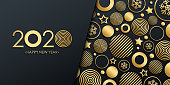 2020 New Year luxury holiday banner with gold christmas balls, stars and snowflakes. Vector illustration.