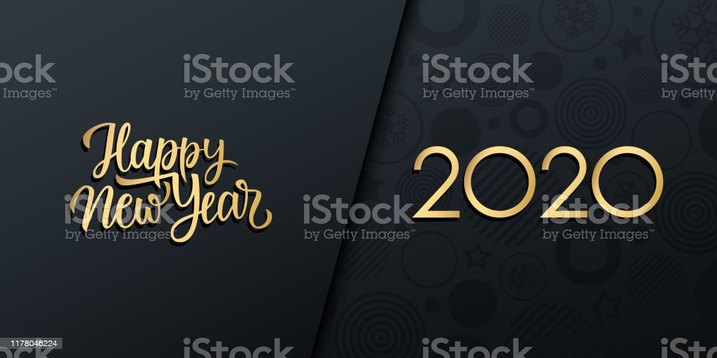 2020 New Year luxury holiday banner with gold handwritten inscription Happy New Year. - Royalty-free 2020 arte vetorial