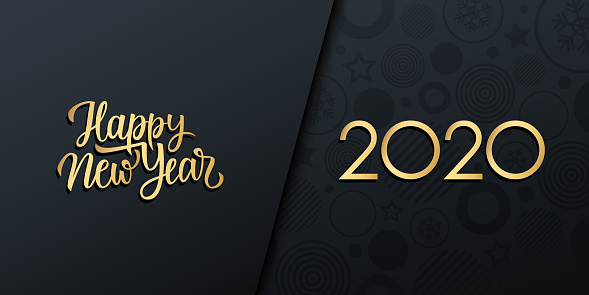2020 New Year luxury holiday banner with gold handwritten inscription Happy New Year.