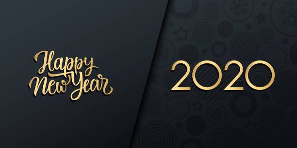 2020 new year luxury holiday banner with gold handwritten inscription happy new year. - happy new year stock illustrations