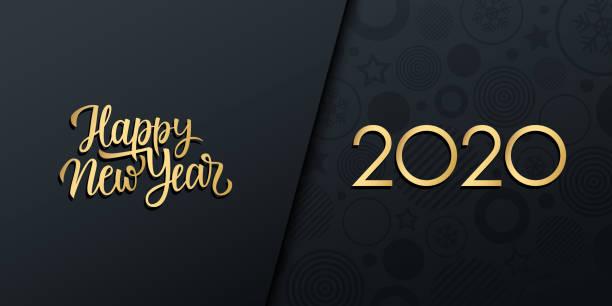 ilustraciones, imágenes clip art, dibujos animados e iconos de stock de 2020 bandera de vacaciones de lujo de año nuevo con inscripción manuscrita de oro feliz año nuevo. - víspera de año nuevo