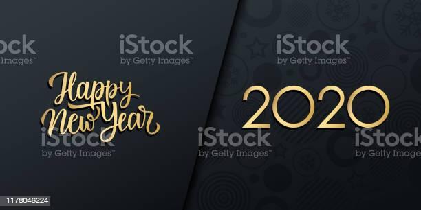 2020 New Year Luxury Holiday Banner With Gold Handwritten Inscription Happy New Year - Arte vetorial de stock e mais imagens de 2020