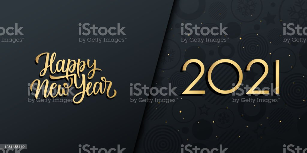2021 New Year luxury holiday banner with gold handwritten inscription Happy New Year. - Royalty-free 2021 arte vetorial