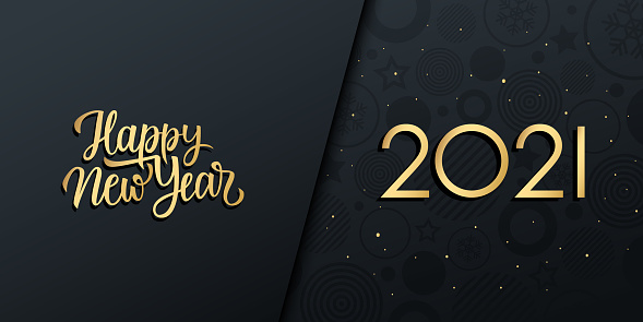 2021 New Year luxury holiday banner with gold handwritten inscription Happy New Year.