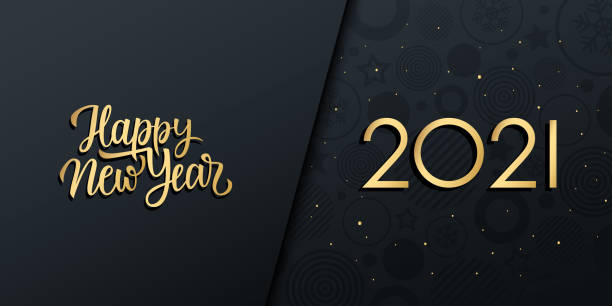 2021 New Year luxury holiday banner with gold handwritten inscription Happy New Year. 2021 New Year luxury holiday banner with gold handwritten inscription Happy New Year. Vector illustration. 2021 stock illustrations