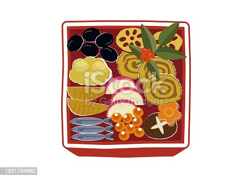 istock New Year material. Illustration of osechi dishes. New Year dishes. For Japanese New Year. 1331734882