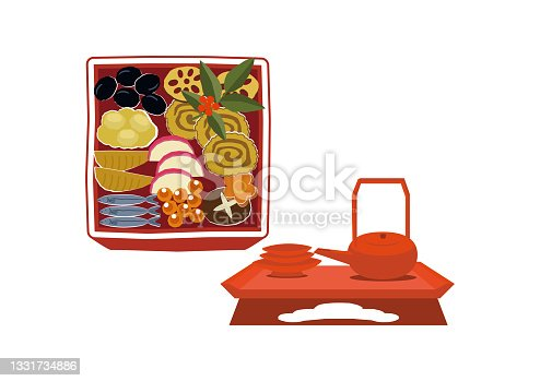 istock New Year material. Illustration of osechi dishes. New Year dishes. For Japanese New Year. 1331734886