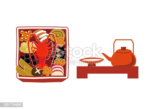 istock New Year material. Illustration of osechi dishes. New Year dishes. For Japanese New Year. 1331734892