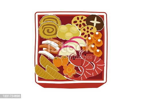 istock New Year material. Illustration of osechi dishes. New Year dishes. For Japanese New Year. 1331734895