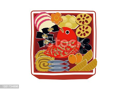 istock New Year material. Illustration of osechi dishes. New Year dishes. For Japanese New Year. 1331734898