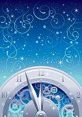 New year background with golden clockwork. Copyspace. Suitable for New Year and Christmas.