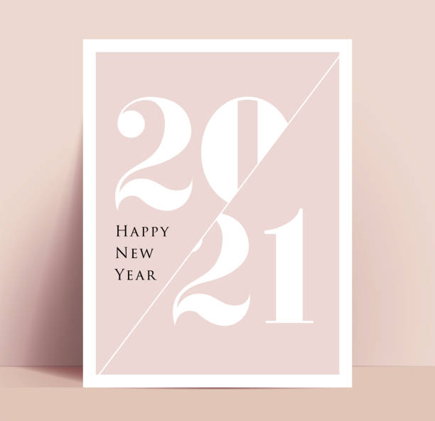 2021 New Year minimalistic typographic poster or card or annual report cover design template. Vector illustration. 2021 New Year minimalistic typographic poster or card or annual report cover design template. Vector eps 10 illustration. happy new year 2021 stock illustrations